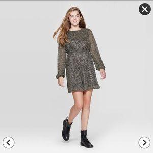 Long Sleeve Shine Dress - Xhilaration Gold Target